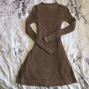 NEW AEO Mock Neck Brown Sweater Dress